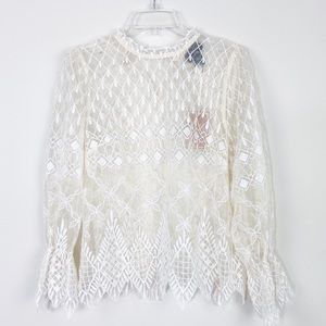 NWT Vici lace long sleeves top size M